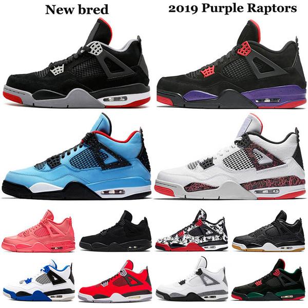 Yeni 2019 Mor Raptors Drake 4 Kadın Erkek Cactus Jack Travis Scotts X 4s Ayakkabı Iv Sıcak Punch Soluk Citron Sneakers 5-13 Bred