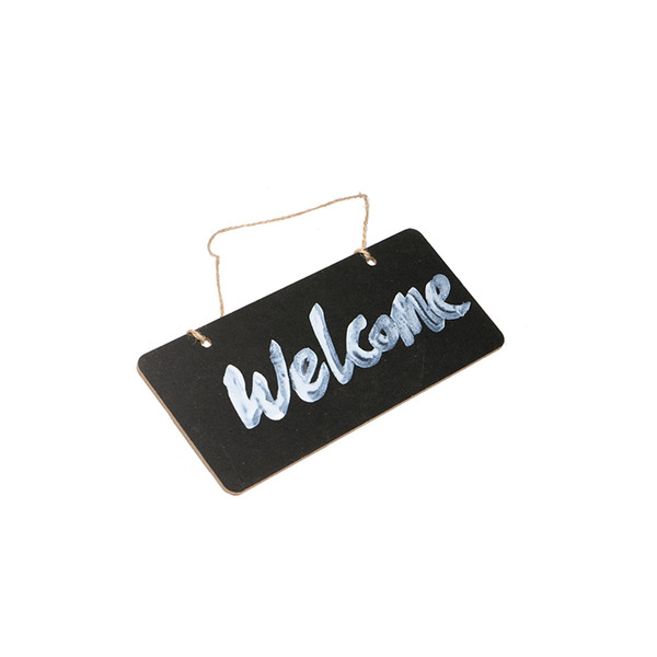 top popular Wooden Mini Blackboard Welcome Plate Chalkboard Message Sign With Hang String Wedding Party Decoration Marriage Supplies 18*8cm 2021