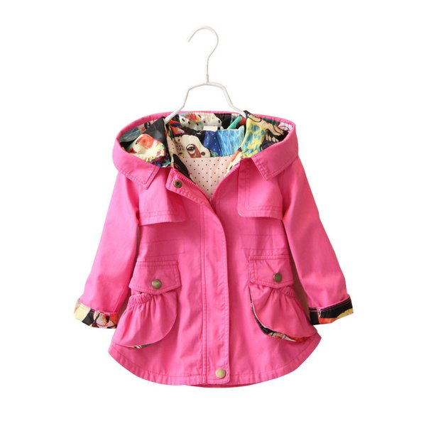 Children Girls Jacket Hooded Waist Cotton Kids Outerwear Baby Girl Coats 2-7 Years Long Windbreaker Jacket For Little Girl