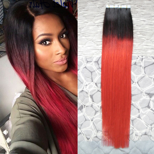 """Fashion Red And Black Ombre Hair Extensions 100G Two tone Ombre Virgin Brazilian Straight Hair 40 PCS Tape On Hair Extensions 18"""" 20"""" 22"""""""