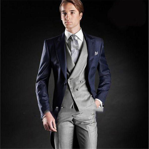 2017 Morning Style One Button Navy Blue Groom Tuxedos Peak Lapel men suit Groomsman Men Wedding Suits (Jacket+Pants+Vest+Tie)