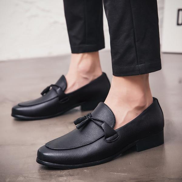 GOODRSSON siyah püsküller loafer'lar erkek ayakkabı moda iş deri ayakkabı Hafif antiskid erkekler rahat krasovki erkekler