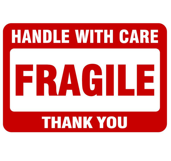 2000pcs 76x51mmHANDLE WITH CARE FRAGILE THANK YOU Self-adhesive Shipping Label Sticker for goods package protection, Item No. SS25