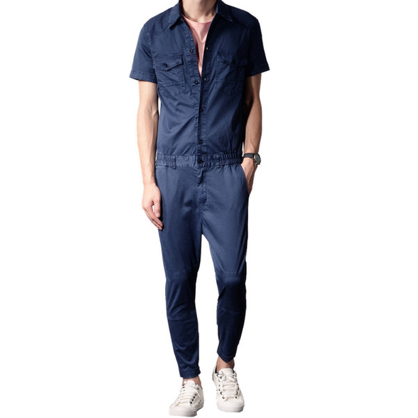 New Hip Jumpsuit Pants Vintage Jeans Men Overalls Slim Denim Rompers Summer