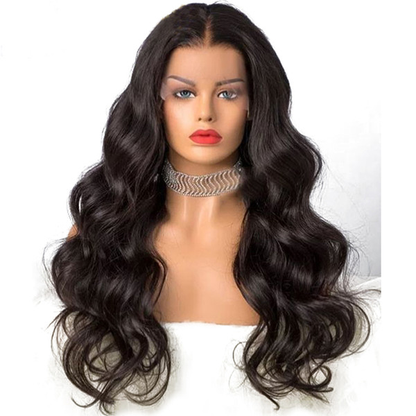 High-quality Heat Resistant Middle Part black Wig Glueless Body Wave Lace Front Wigs Synthetic Wigs For Black Women