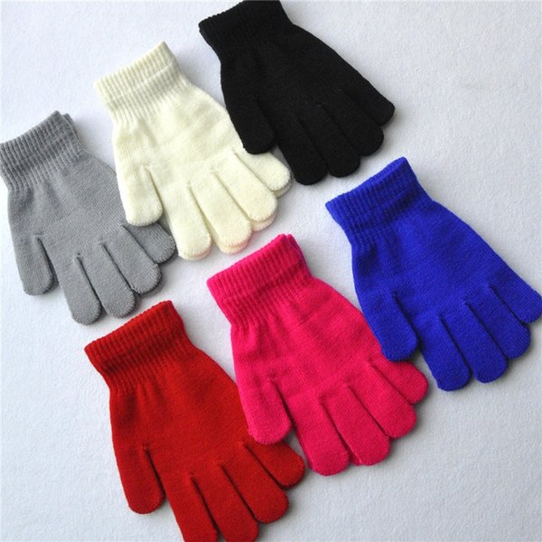 18cm Junior High School Students Winter Warm Gloves 6 Colors For Girl Boy Xmas Gift Multicolor Pure Knitted Gloves Full Finger Glove H925Q F