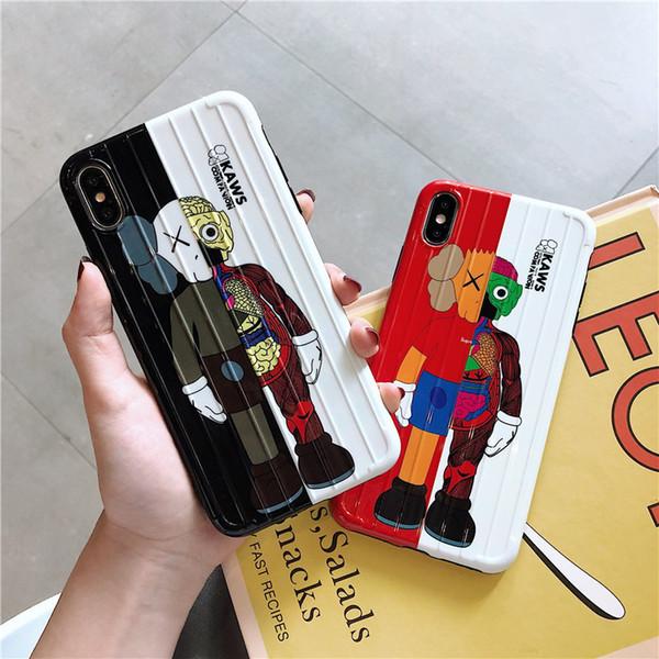 7 8 플러스 X XR XS MAX의 인기있는 슈퍼 귀여운 여행 가방 핸드백 안티 커버를 노크 6 프로 아이폰 (11)에 대한 새로운 가방화물 KAWS 인형 전화 케이스
