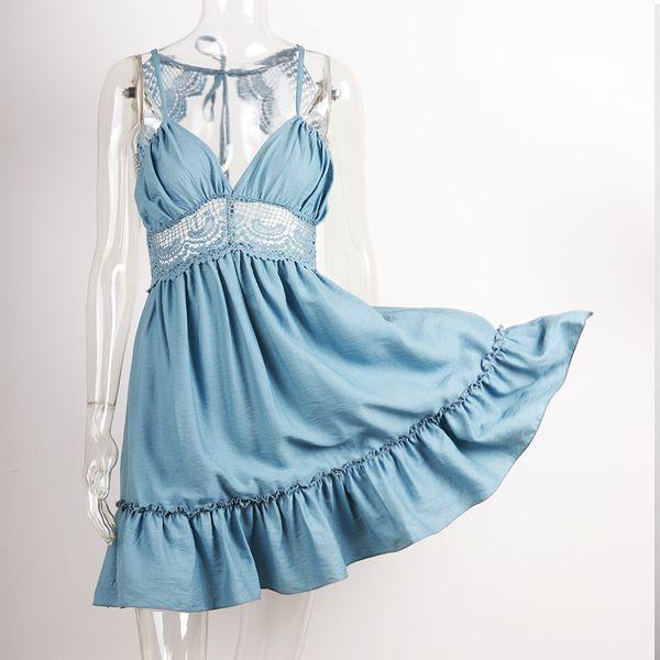 2019 Summer Women New Sexy Halter Sling Lace Pattern Dress Sleeveless Strap Hot Sundress Deep V-neck Slim Elegant Vestidos