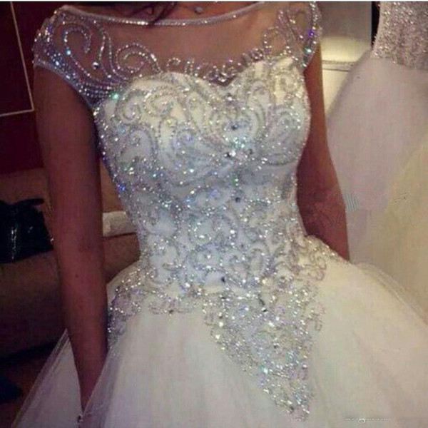 Ball Gown Wedding Dresses 2019 New Gorgeous Dazzling Princess Bridal Real Image Luxurious Tulle Handmade Rhinestones Crystal Sheer Top