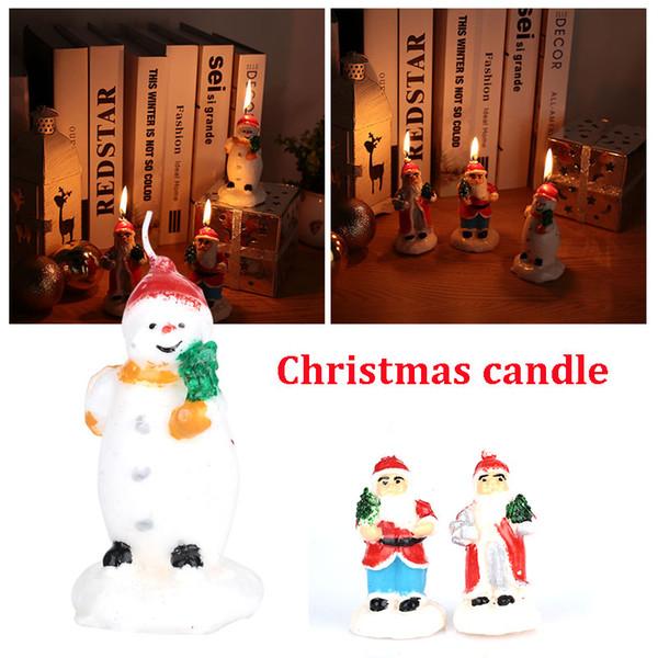 Bougie Candles Lovely Paraffin Gift Decor Pupazzo di neve Candela di Natale Babbo Natale Cucina Decorazioni per la casa Natale Bella festa