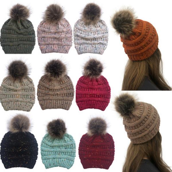 Kış Kadın konfeti Örme Şapka Sıcak Pom Pom renkli Yün Şapka Bayanlar Kafatası Beanie Katı Kadın Açık ZZA982 Caps