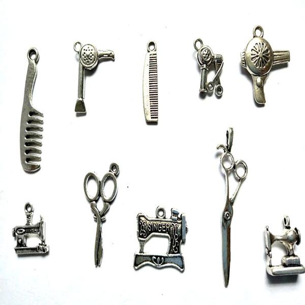 Pettine per capelli Forbici per macchine da cucire Charms Vintage Pendenti in lega d'argento per monili che fanno braccialetto Accessori fatti a mano del barbiere