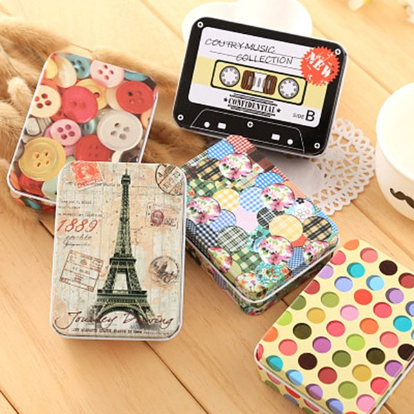 Small Storage Boxes Colorful Mini Tin Candy Metal Box Packing Boxes Jewelry Cute Cans Coin Purse Earrings Headphones Gift
