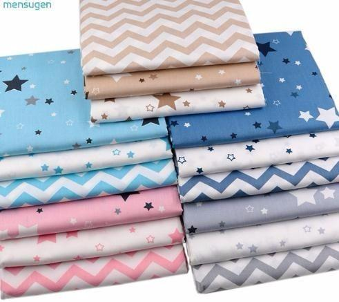 Stars Chevron 100% Twill Cotton by Meters for Patchwork Quilting Baby Bedding Blanket Sewing Cloth Material 160cmx100cm
