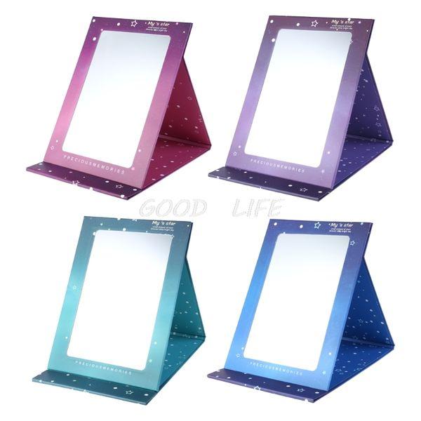 Free Shipping 1pc Desktop portable creative star fold cosmetic mirror color paper cute mirror