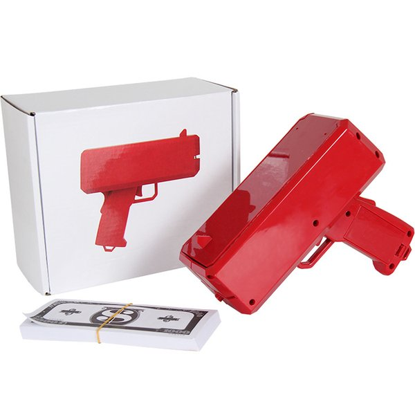 top popular Cash Cannon Money Gun Launcher Decompression Fashion Toy Make It Rain Money Gun Cosplay Prop Red Cool Christmas Gift Toys 2020