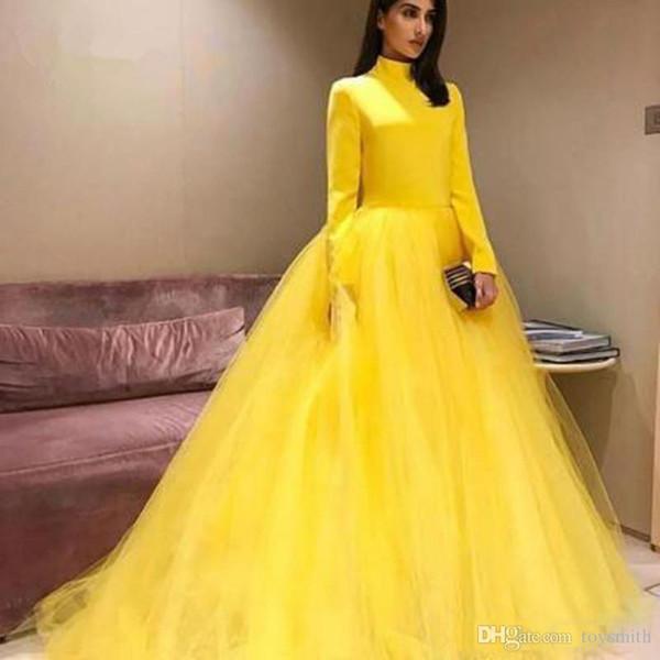 Elegant Muslim Yellow Evening Dresses 2019 High Collar Full Sleeves Long Tutu Prom Gowns Elastic Top Formal Dress Abendkleider