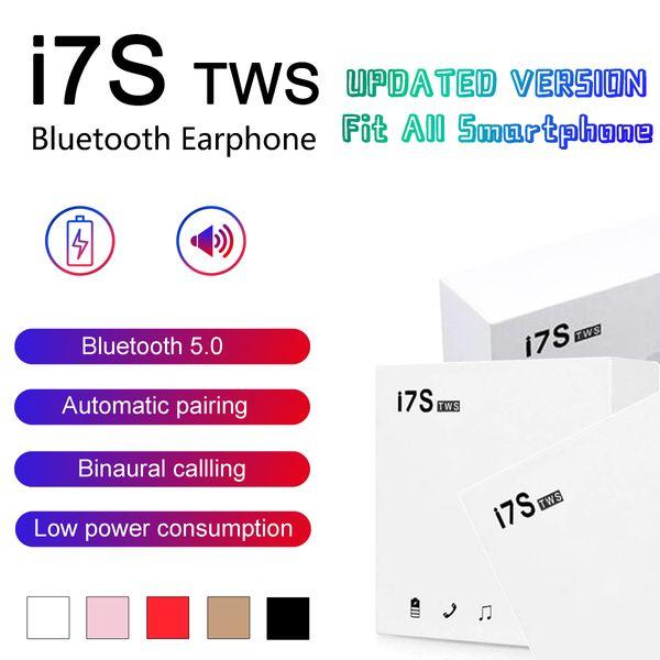 Bluetooth Kulaklıklar I7 I7S TWS Twins Kulakiçi Mini Kablosuz Kulaklık Kulaklık için Mic ile Stereo V5.0 telefon Android için perakende Paketi ile