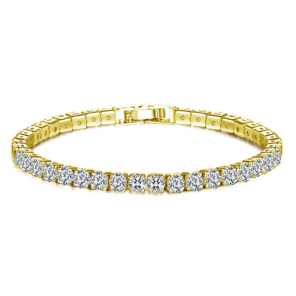 Plated Silver Round Cut Tennis Bracelet Bangle for women Fashion Zirconia Crystal Charm Wristband gift jewelry