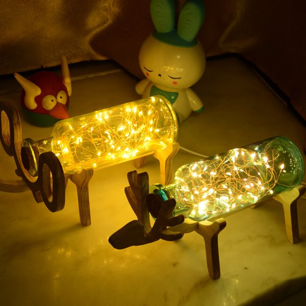 Fawn Led Lamp Glass Bottles Display Of Fireworks And A Sea Of Lanterns Christmas Boxing Things Night Atmosphere Nurse Small Night-light