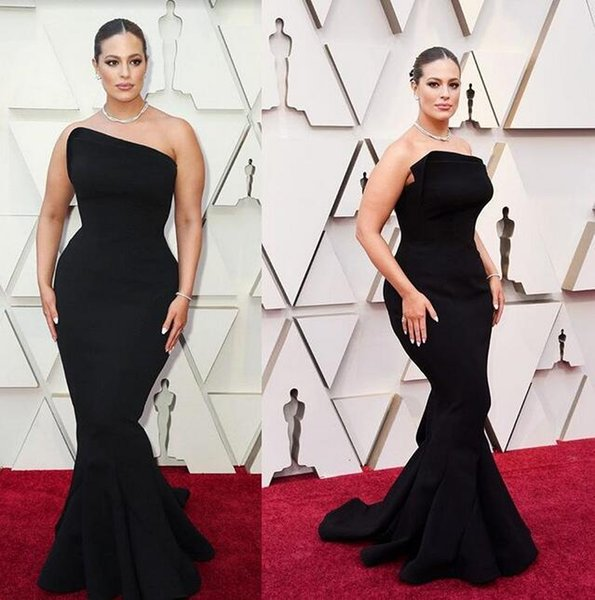 Ashleygraham oscars 2019 new black mermaid prom dresses Abendkleider sweep train sexy with zipper custom made Oscar Red Carpet plus size