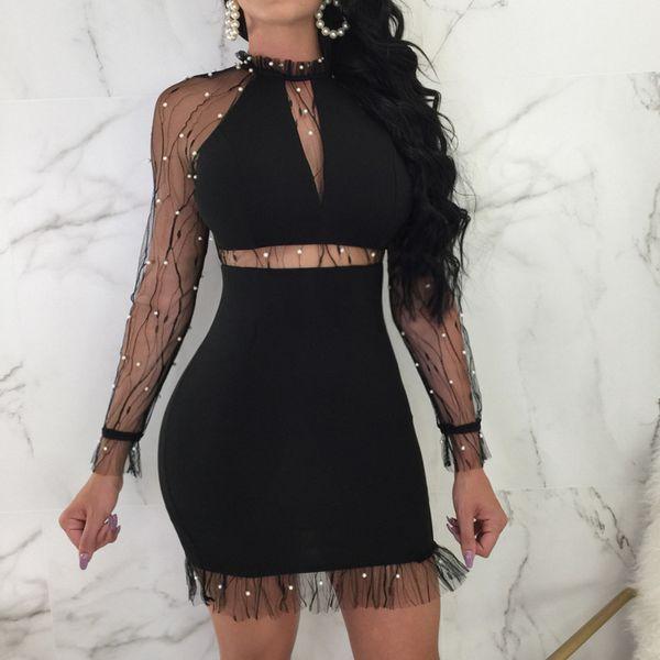 Womens Nail  Long Sleeve Evening Party Sexy Mini Dress Club Dress