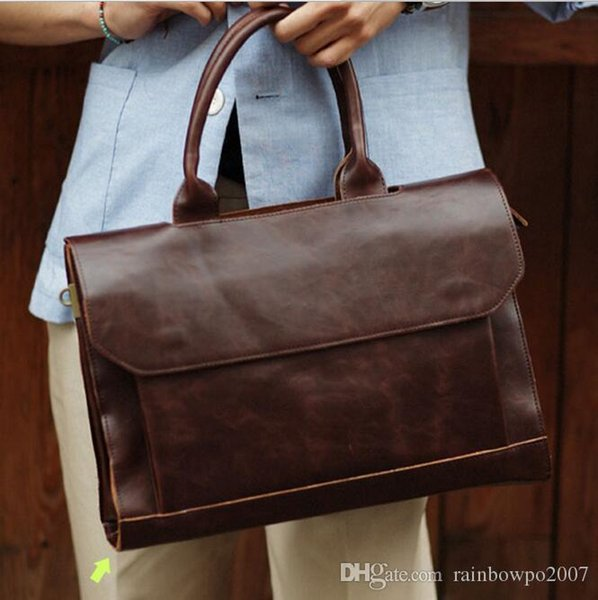 Factory Direct Tideing Mens Bags Of Fashion And High Quality Leather Casual Men Fashion Business Man Retro Briefcase Computer Bag