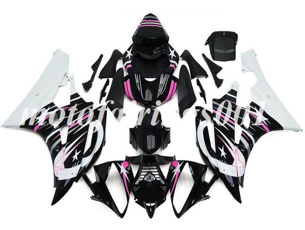 (Molde de inyección) Nuevo estilo ABS Kit de carenados completos apto para Yamaha YZF-R6 R6 2006 2007 06 07 Carenado conjunto de carrocería negro rosa