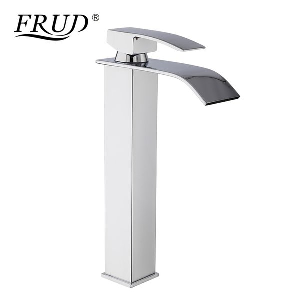 FRUD Basin Vessel Sinks Mixer Faucet Single Handle Countertop Waterfall Square Bathroom Washing Mixer Taps Deck Mounted Y10139