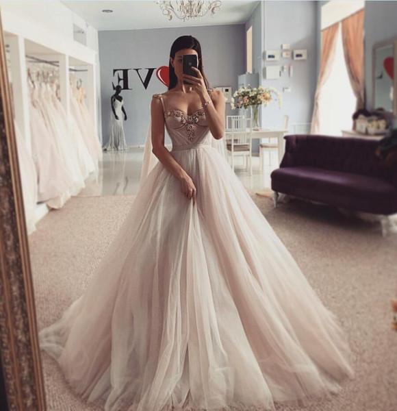 2019 New Wedding Dresses Spaghetti Neck Dubai Ribbon Beach Bridal Gowns SweepTrain Custom Made vestido de noiva