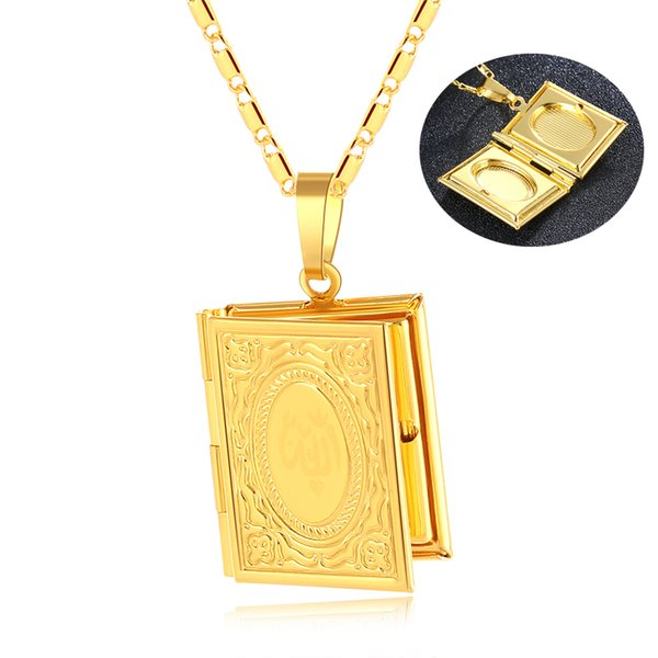 New Brand Gold/Silver Color Small DIY Photo Box Necklaces For Women/Girl Pendant Muslim Islamic Jewelry Gift