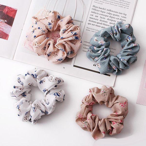 4 colores mujeres niñas gasa rosa tela floral anillo elástico lazos para el cabello accesorios titular de cola de caballo diademas banda elástica gomas INS nuevo