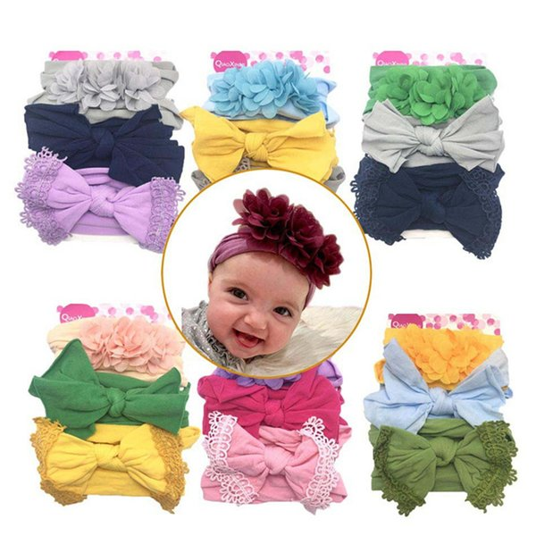 Baby Girls Headband Infant Toddler Floral Bow Lace Nylon Hairband Newborn Kids Cute Headwrap Hair Accessories 3 colors/piece Q202