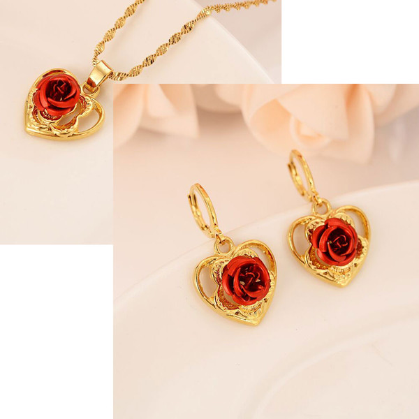 France NEW Charm 14 k YELLOW FINE SOLID GOLD FILLED Dangling PENDANTS EARRING WITH MAGNIFICENT RED ROSE FLOWER HEART DESIGN