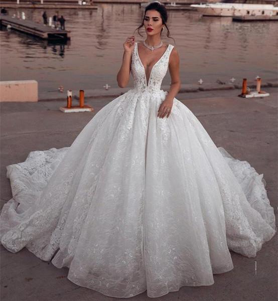 2019 Glamorous Cathedral Train Sleeveless V Neck Wedding Dresses