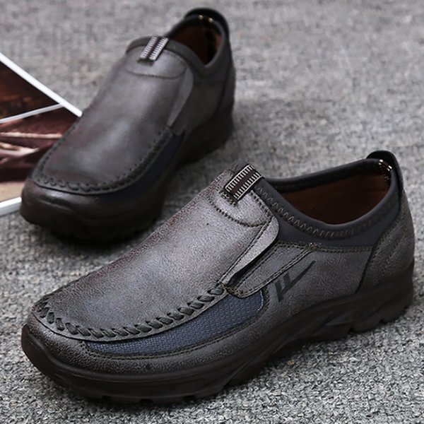 Men Leather Shoes Black Shoes Classic Slip-On Footwear Plus Size 55-58 Massage Antiskid Walking Footwear Chaussure Homme