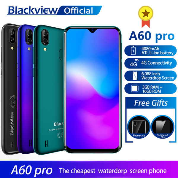 2019 Blackview A60 Pro Smartphone MTK6761 Quad Core Android 9 0 4080mAh  Cellphone 3GB+16GB Waterdrop Screen Face ID 4G Mobile Phone From Murcia,