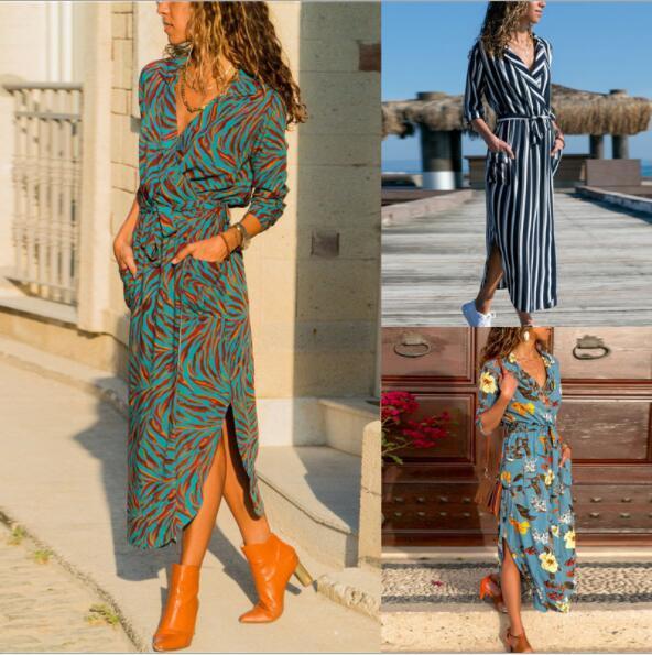 Vestidos de verão para as mulheres t-shirt vestidos de outono de manga longa saias casuais nova moda praia vestidos de roupas 3 estilos s-3xl atacado