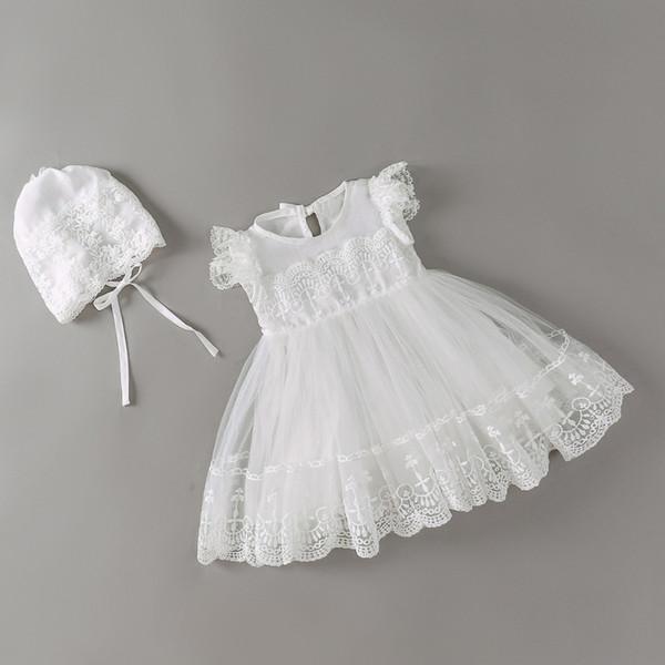 Kap Ile Yeni Bebek Elbise Beyaz Nakış Dantel Bebek Kız Vaftiz Önlükler 1 Yıl Doğum Günü Elbise Bebek Kız Giysileri Için 3-24 m Y190516