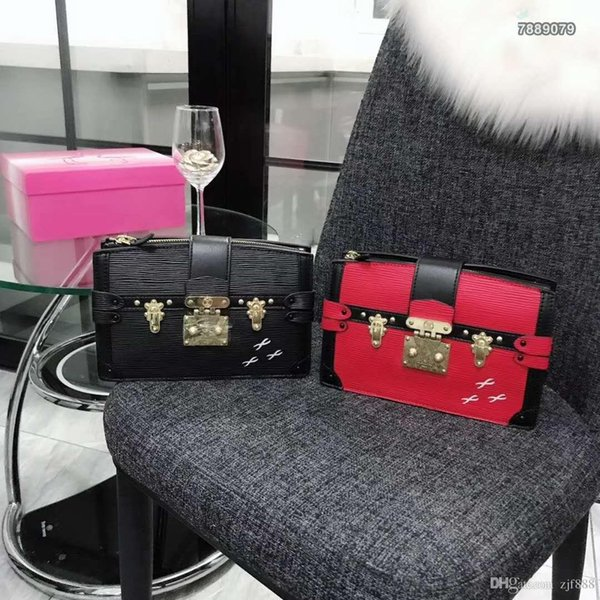 Newest style famous Genuine Leather Most popular Water ripple Shoulder bag women bags feminina small bag wallet