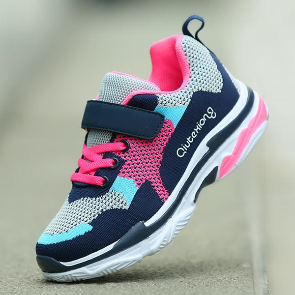 2018 новый стиль обувь для девочек детские кроссовки мальчики кроссовки легкие детские открытый спортивная дышащая обувь