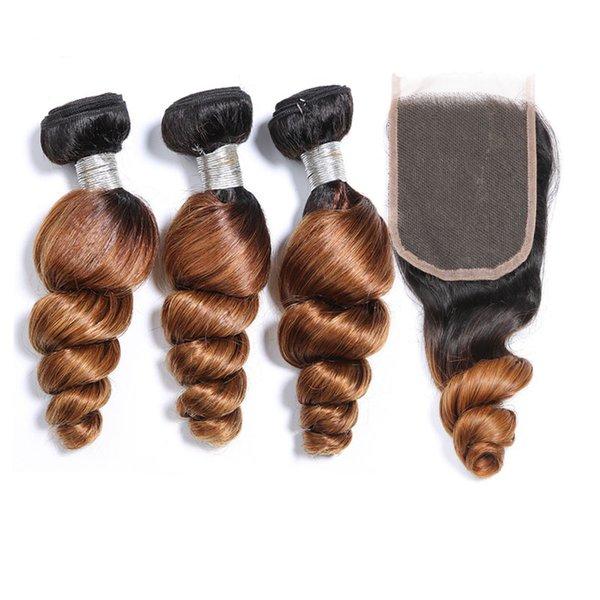 Ombre Brazilian Loose Wave Human Hair Bundles With Closure T1b 30 Two Tone Human Hair Weave 3 Bundles With Lace Closure 4pcs Lot