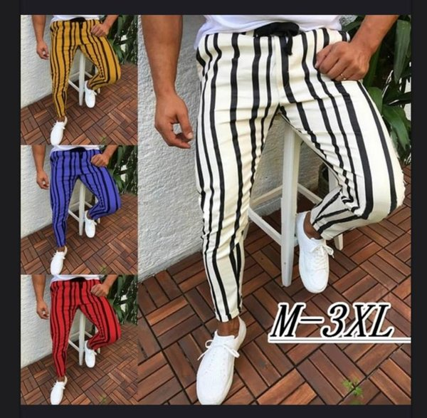 Autumn Casual Slim Fit Designer Pants Tracksuit Stripe Hip Hop Fashion Skinny Blue Red Pants for Men