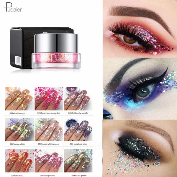 Pudaier Eyeshadow Holographic Laser Sequin Pigment Purple Glitter Eyeshadow 34 Colori metallizzati Powder Eyes Shadow Palette Makeup