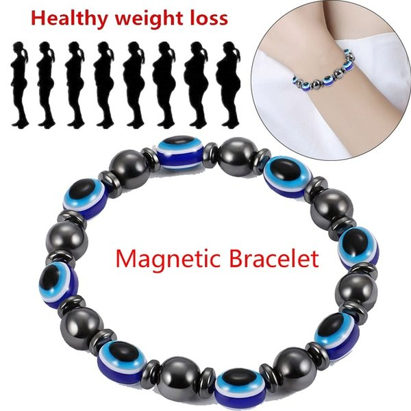 Health Weight Loss Round Bead Blue Eyes Stone Chain Bracelet Magnetic Therapy Chain Bracelet Fashion Jewelry