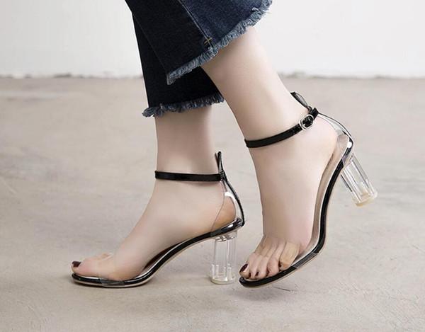 Hot Sale-Transparent heels and high heels 2019 new summer sandals fashion versatile one-button popular women's heels fashion dress shoes