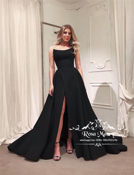 Gothic Schwarz Plus Size Günstige Abendkleider 2020 A Line High Split Lange Satin Arabisch Abendkleider Party Wear Abendkleider