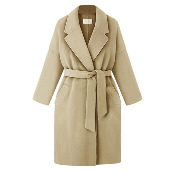 Casacos de mulheres casacos médio-longo cinto misturas de lã casaco Turn-down Collar bolsos de cor sólida Parka
