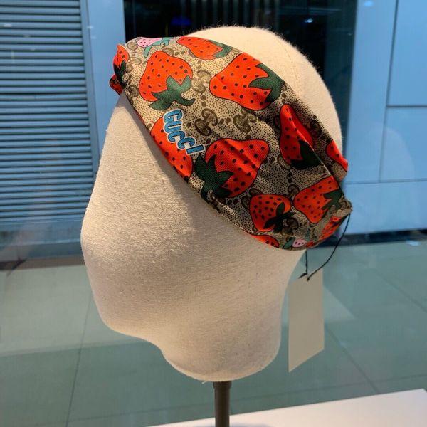 2019 le nouveau designer g fil croix élasticité femmes bande de cheveux mode luxe fruits design filles belles écharpe de cheveux cheveux Headwraps meilleur gif