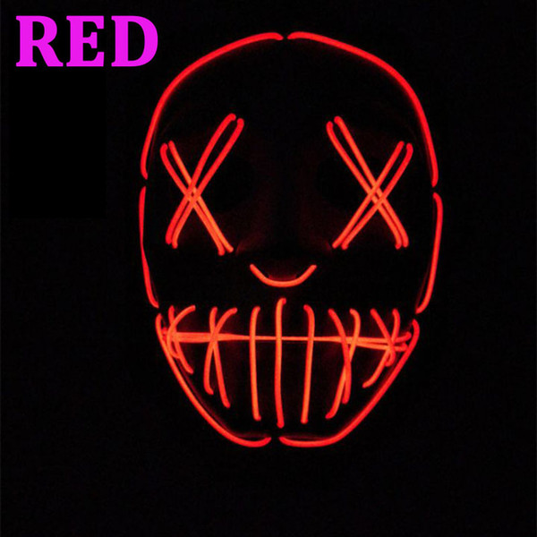 10 Colors EL Wire Ghost Mask Slit Mouth Light Up Glowing LED Mask Halloween Cosplay Glowing LED Mask Party Masks